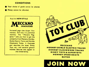 MECCANO TOY CLUB Card - outside